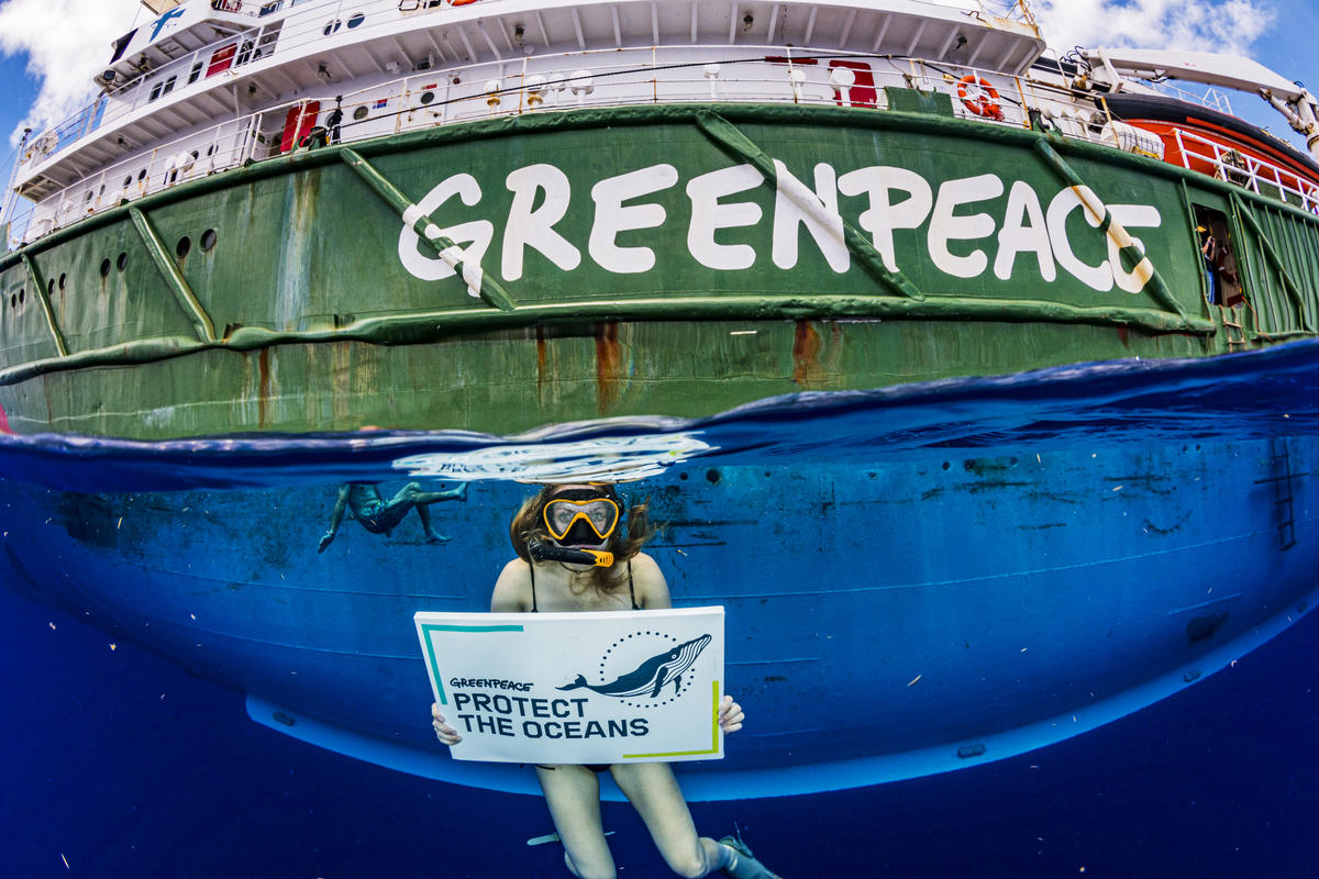 """""""Protect the Oceans"""" Message in the Sargasso Sea. © Shane Gross / Greenpeace"""