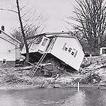 This image is of the Humber River, looking north from Islington Avenue, just east of Woodbridge (in Vaughan, Ontario), when Hurricane Hazel tore through the area in 1954.