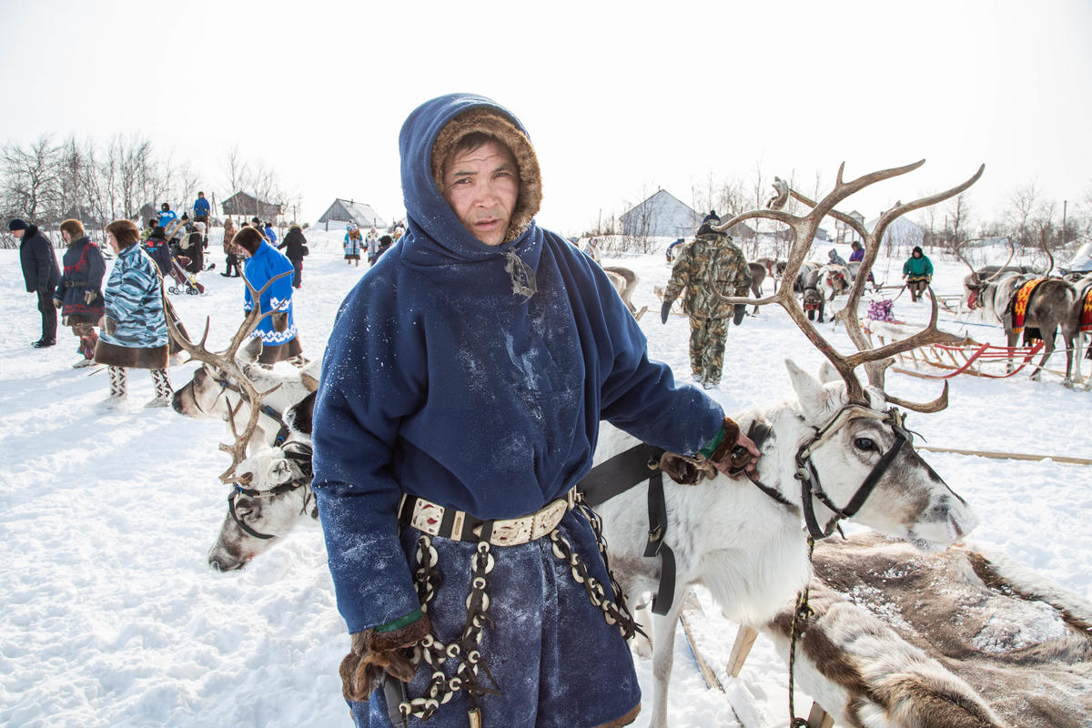 Indigenous People Oppose Oil Drilling on Reindeer Herder Day in Siberia. © Daria Karetnikova / Greenpeace