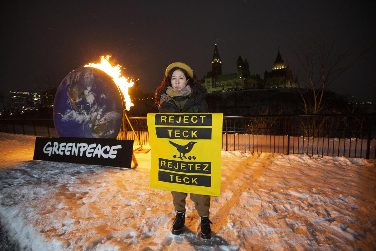 Appel ardent pour rejeter Teck à Ottawa, Canada. © Greenpeace