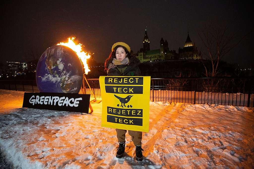 Appel ardent pour rejeter Teck à Ottawa. © Greenpeace