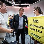Protest at ČEZ AGM in Prague. © Petr Zewlakk Vrabec / Greenpeace