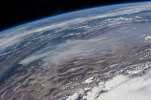 International Space Station Image of the Rim Fire in California. © NASA