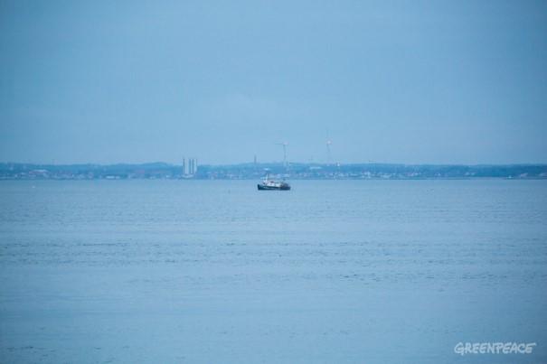 Ship H214 at sea in the Øresund.