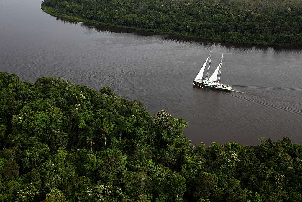 Rainbow Warrior in the Amazon. © Rodrigo Baléia