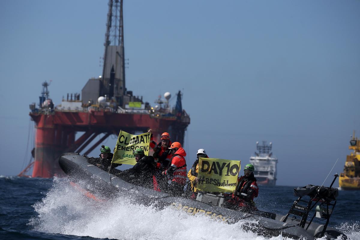 Aktivister på 10. dag i protest mod BP's olieboringer i Nordsøen. © Greenpeace
