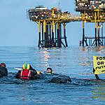 Pressemeddelelse: Greenpeace-svømmere forsøger at nå olieplatform i Nordsøen