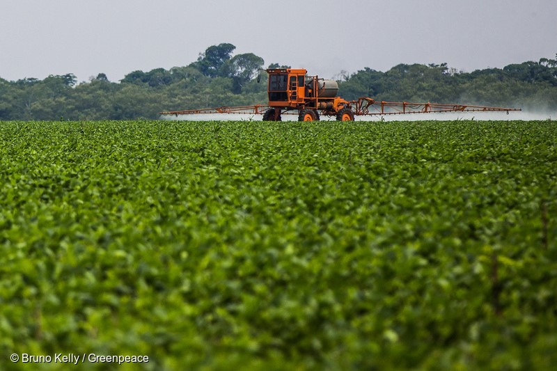 Máquina pulveriza defensivos agrícolas sobre plantação de soja, no Mato Grosso. Machine spraying pesticides on soybean crops in Mato Grosso.