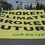 EU summit: student protesters and Greenpeace activists warn 'broken climate = broken future'