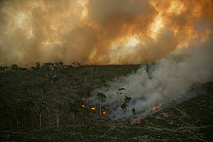 Burning Amazon Rainforest in Brazil. © Greenpeace / Daniel Beltrá