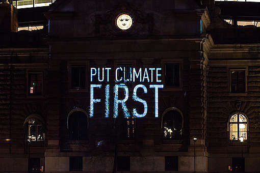 Extreme Weather Projection at Swedish Parliament in Stockholm. © Edward Beskow