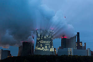 Projection in French onto Coal Power Plant Neurath in Germany. © Daniel Müller