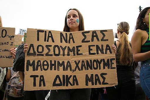 Global Climate Strike March in Greece. © Evgenia Choros / Greenpeace
