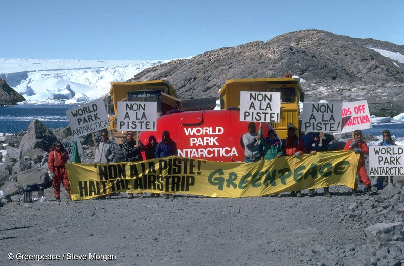 Greenpeace blockade of airstrip site at French base Dumont D'Urville, Antarctica. Accession #: 0.89.003.181.03