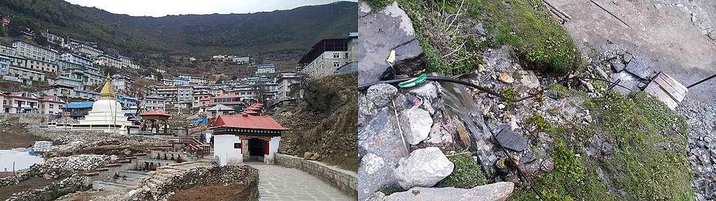 Namche Bazaar,阿建形容是當地最大最潮的村莊。不過他也在村口的主要河流,看到垃圾、人爲污染情況。