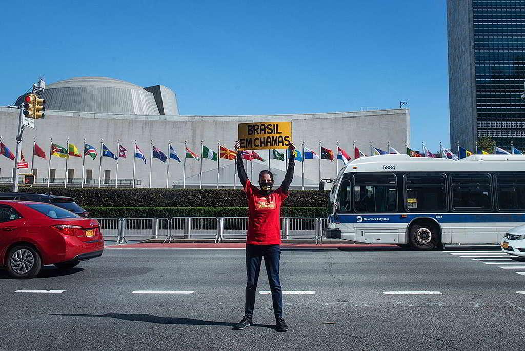 巴西總統博索納羅上月於聯合國大會發表「森林大火是原住民的錯」演說期間,綠色和平美國辦公室行動者在會場外高舉「Brasil em Chamas(巴西燒滾了)」標語,促請巴西政府肩負護林責任。 © Tracie Williams / Greenpeace