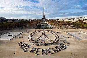Eiffel Tower Human Aerial Art in Paris. © Yann Arthus-Bertrand