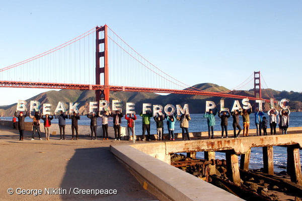 "More than one million people ahead of this year's Earth Day (April 22) are demanding that the world's largest corporations reduce their production of single-use plastic. In the US, Greenpeace activists deployed two messages near the Golden Gate Bridge in San Francisco that read ""Break Free From Plastic"" and ""Stop Corporate Plastic Pollution,"" ""We are reaching a tipping point on single-use plastics, and it is time for any corporation that cares about a healthy planet to go beyond recycling alone. Throwaway plastics continue to pour into our oceans, our waterways, and our communities at an alarming rate,"" said Graham Forbes, a Plastics Campaigner at Greenpeace USA."