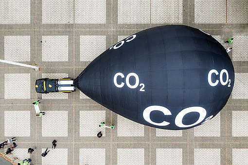 Aerials of Protest with Monster Truck at the IAA in Frankfurt. © Greenpeace