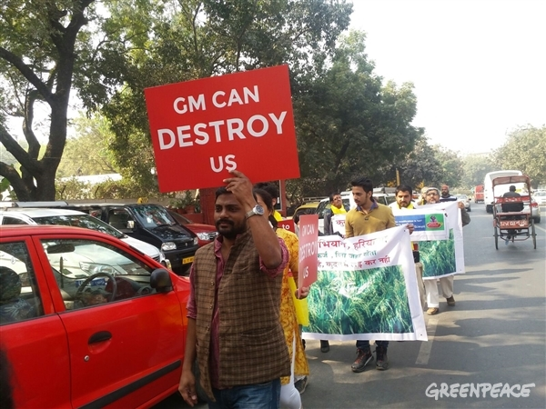 Rally outside Ministry of Environment, Forests and Climate Change to oppose GM Mustard
