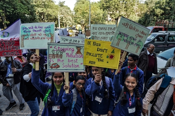 Children visit the Environment Ministry of India