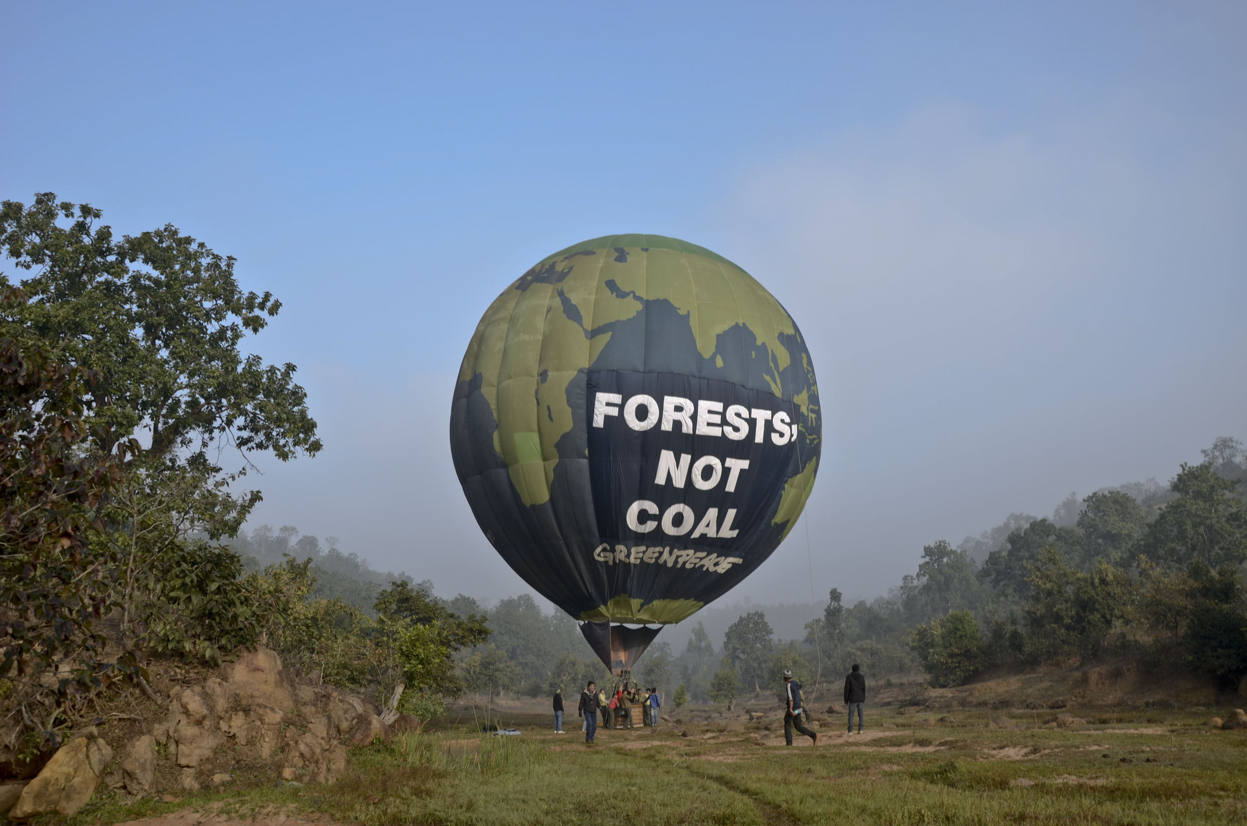 The Greenpeace balloon is prepared to fly over forests in Mahaan in Singrauli, located in the central Indian state of Madhya Pradesh. Indian film actor Abhay Deol will board one of the balloons to speak to the media and to highlight the threat to the pristine forests in Mahaan from coal mining.