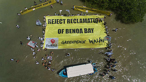 """Reject Reclamation"" Banner in Benoa Bay, Bali. © Bagus Windhi Santika"