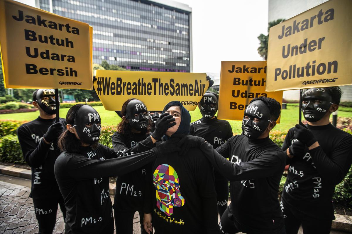 Air Pollution Protest in Jakarta. © Jurnasyanto Sukarno / Greenpeace