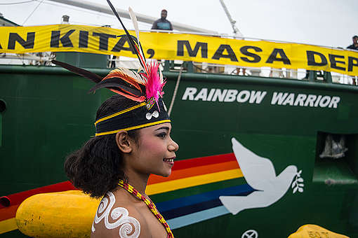 Rainbow Warrior Arrival in Manokwari, West Papua. © Sutanta Aditya / Greenpeace