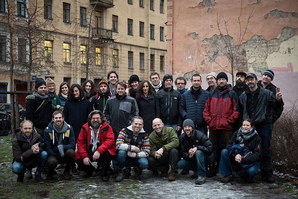 Arctic 30 Activists in St. Petersburg. © Dmitry Sharomov / Greenpeace