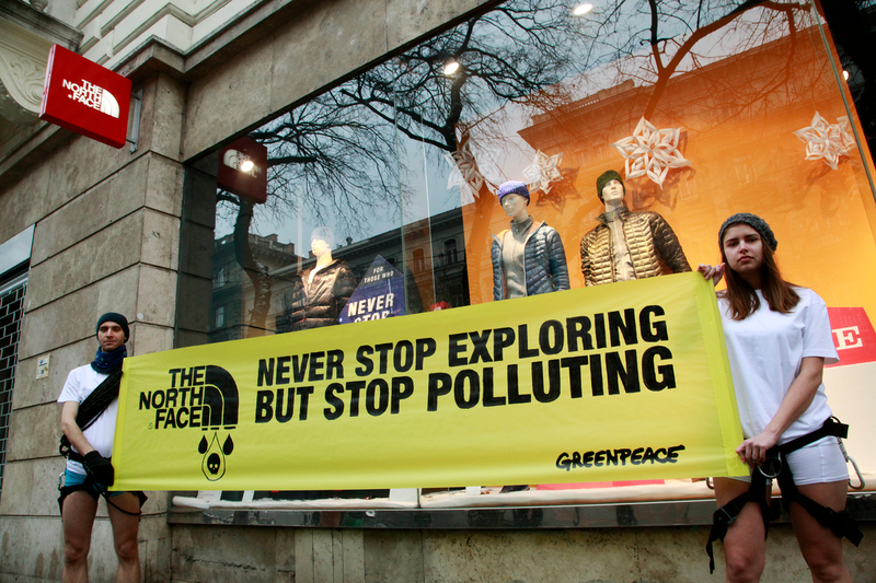 Detox Action in Front of a North Face Store in Budapest © Bence Jardany / Greenpeace