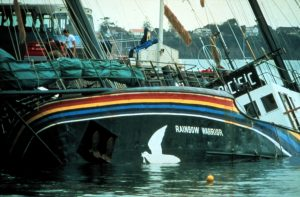 Aftermath of Shipwreck after the Rainbow Warrior Bombing in NZ © Greenpeace / John Miller