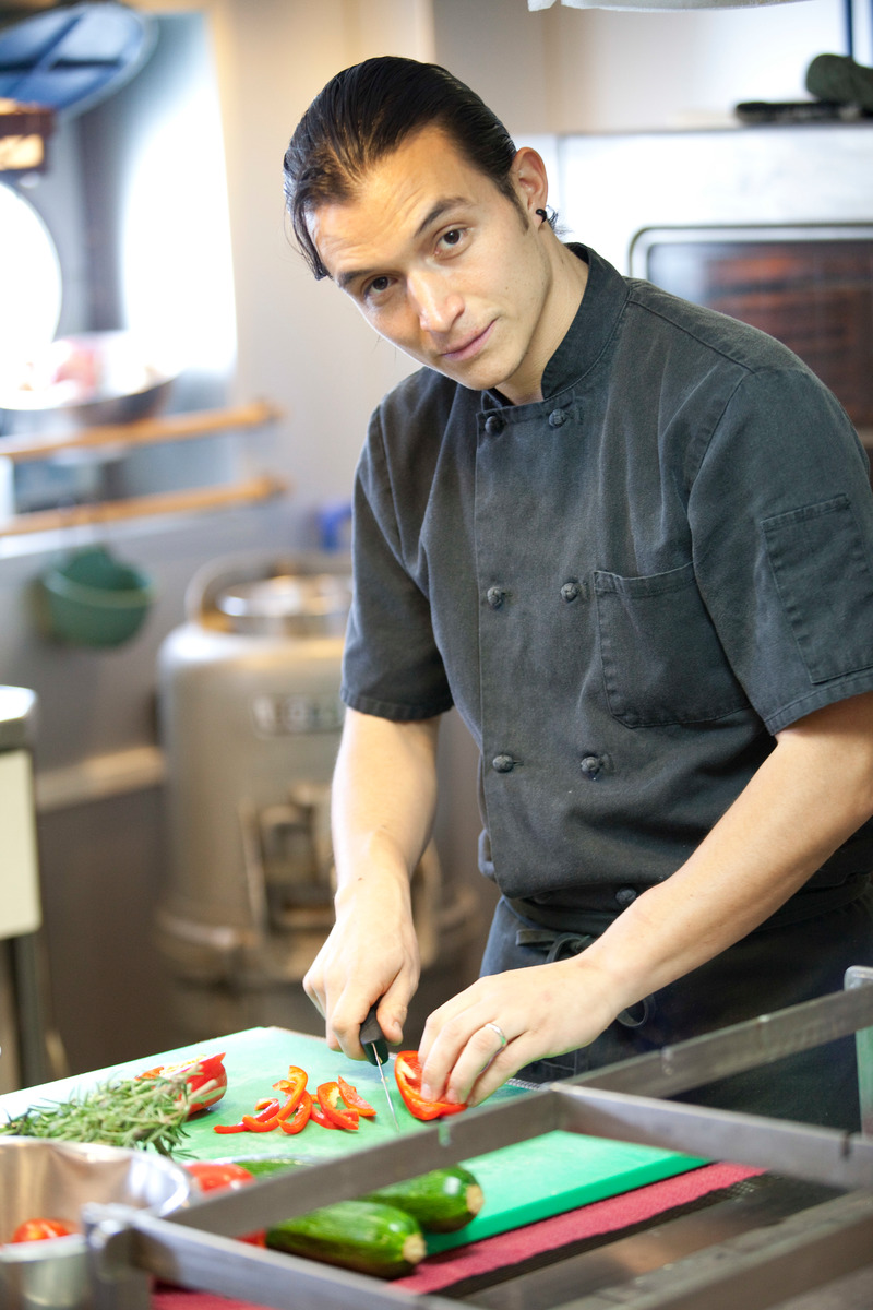 Chef Daniel Bravo Garibi on the Greenpeace ship Esperanza. © Steve Morgan/Greenpeace