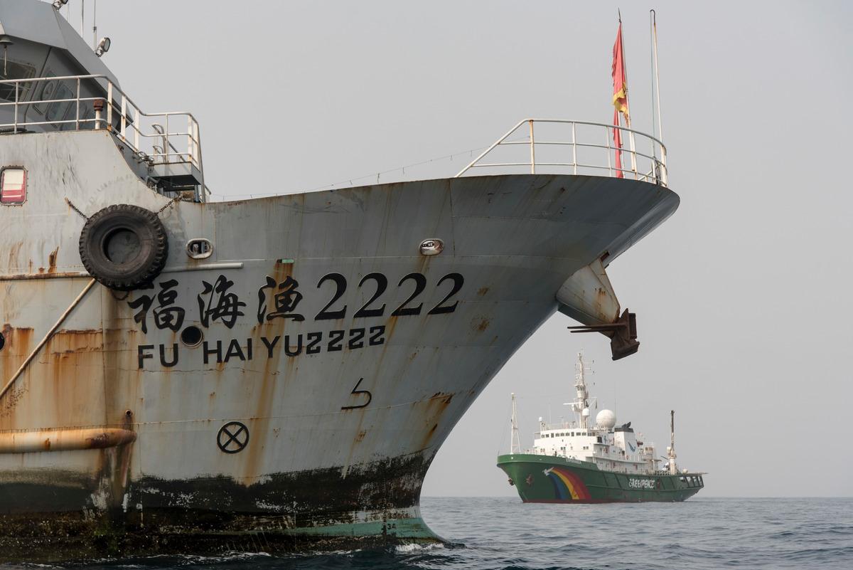 Inspection of Chinese Fishing Vessel in Sierra Leone © Pierre Gleizes / Greenpeace