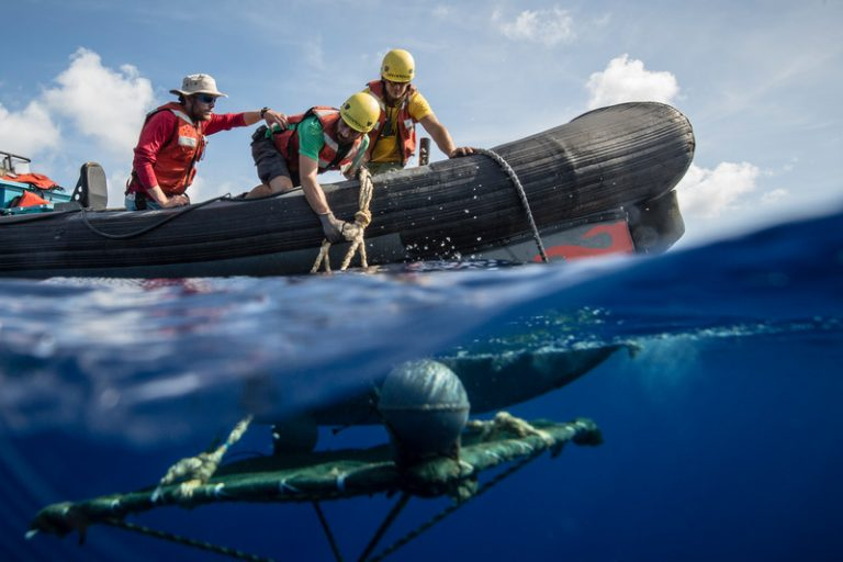 Greenpeace Crew Retrieve a FAD in the Indian Ocean. © Will Rose / Greenpeace