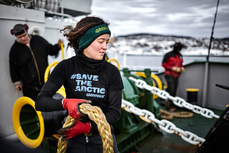 Crew Members on MY Arctic Sunrise in the Arctic. © Mitja Kobal / Greenpeace