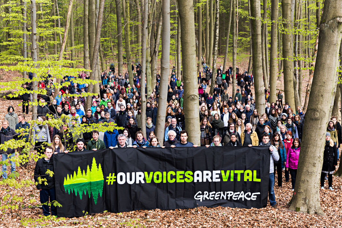 """Our Voices Are Vital"" Activity in Germany. Photo by Fred Dott / Greenpeace"