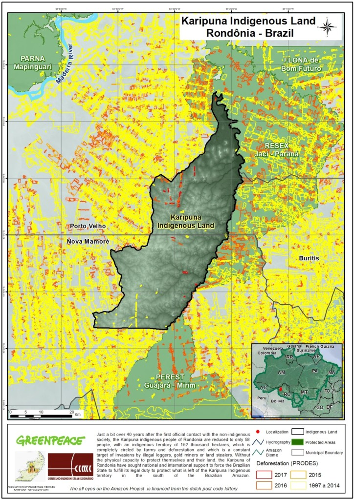 Map of the Karipuna Indigenous land in the Brazilian Amazon © Greenpeace, CIMI and Association of Indigenous Peoples Karipuna Abytucu Apoika