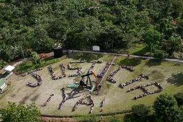 Justice Now protest, Ecuador. Photo courtesy of amazonwatch.org