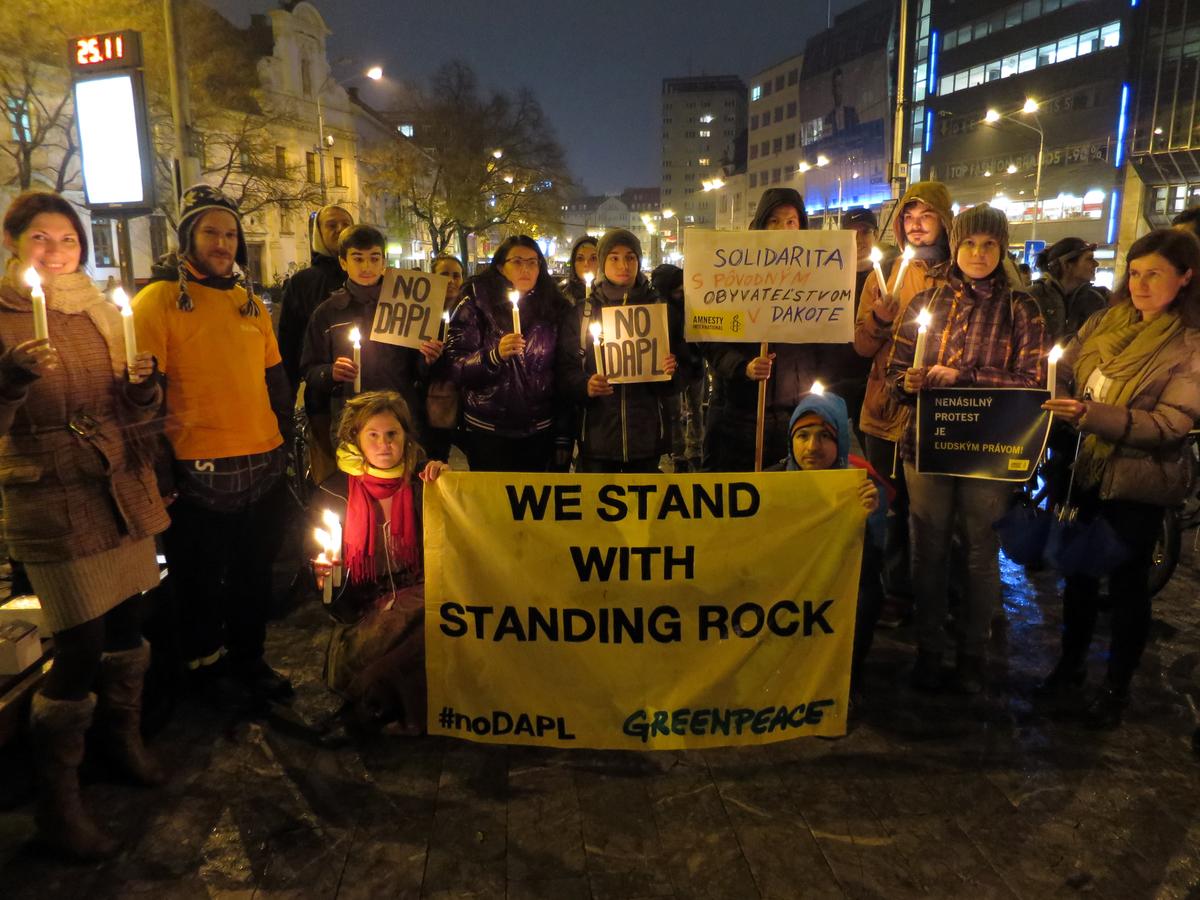 Standing Rock Solidarity Event in Bratislava, Slovakia © Juraj Rizman / Greenpeace
