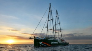 Rainbow Warrior at Sunset in Manila