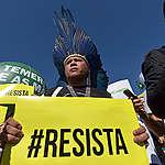 Kleber Karipuna at Resist Protest in Brazil