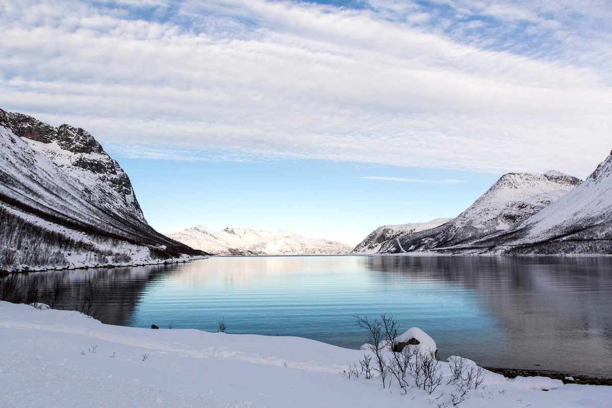 Landscape view of the waters and mountains near Tromsø, Norway © Joerg Modrow / Greenpeace