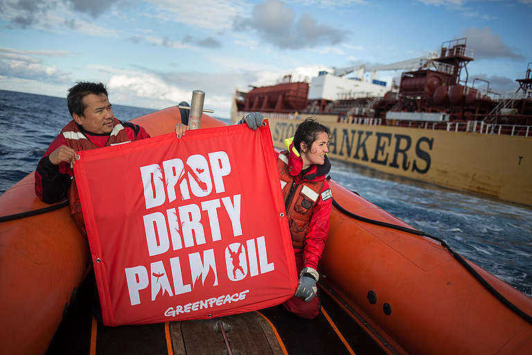 Esperanza Drop Dirty Palm Oil Tour © Jeremy Sutton-Hibbert / Greenpeace