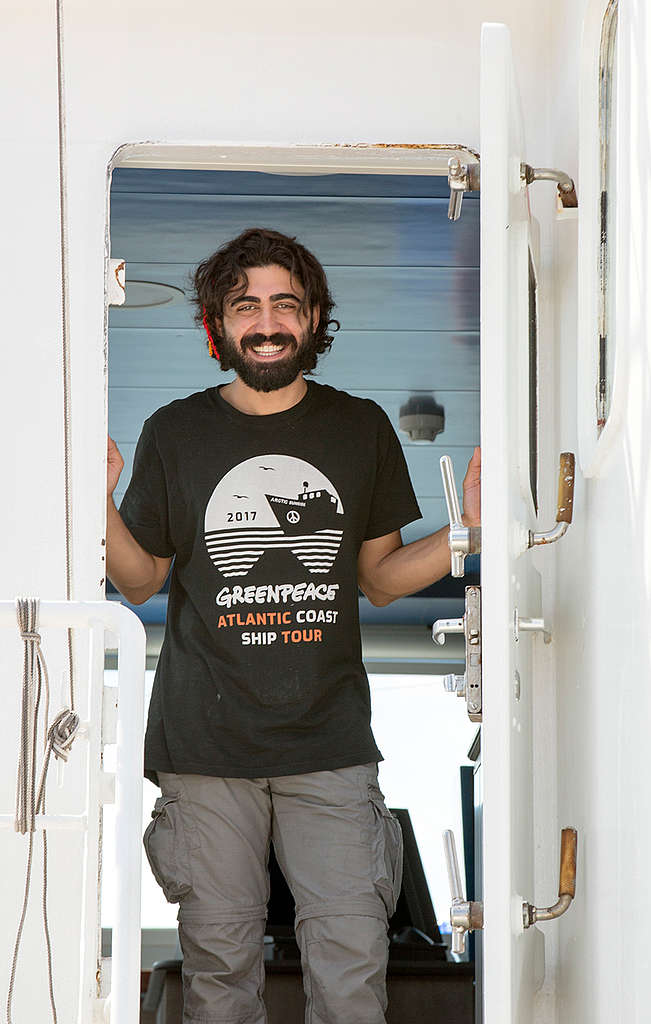 Azam Sahinoglu on the Atlantic Coast Tour © Tim Aubry / Greenpeace
