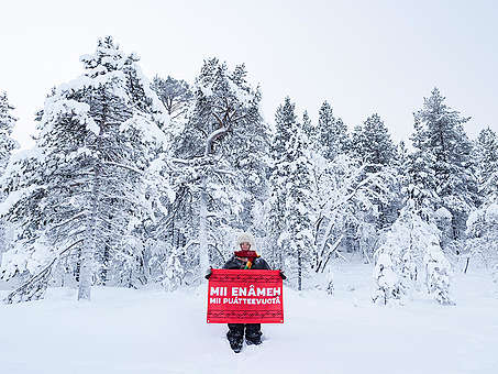 Sámi Reindeer Herders Oppose Railroad Construction in Finland © Jani Sipilä / Greenpeace