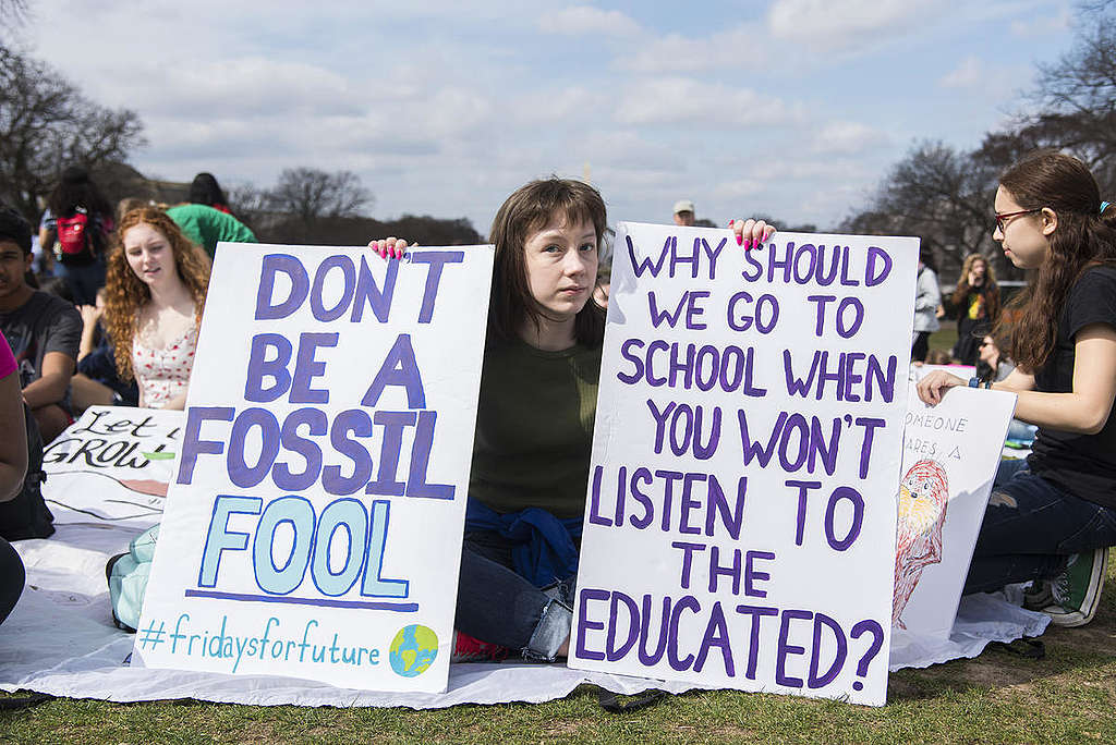 Fridays for Future Student Demonstration in Washington DC. © Livia Ferguson / Greenpeace