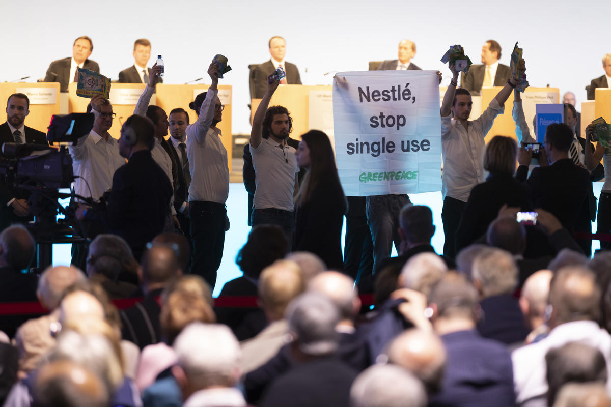 Action at the Nestlé Annual General Meeting in Lausanne. © Greenpeace