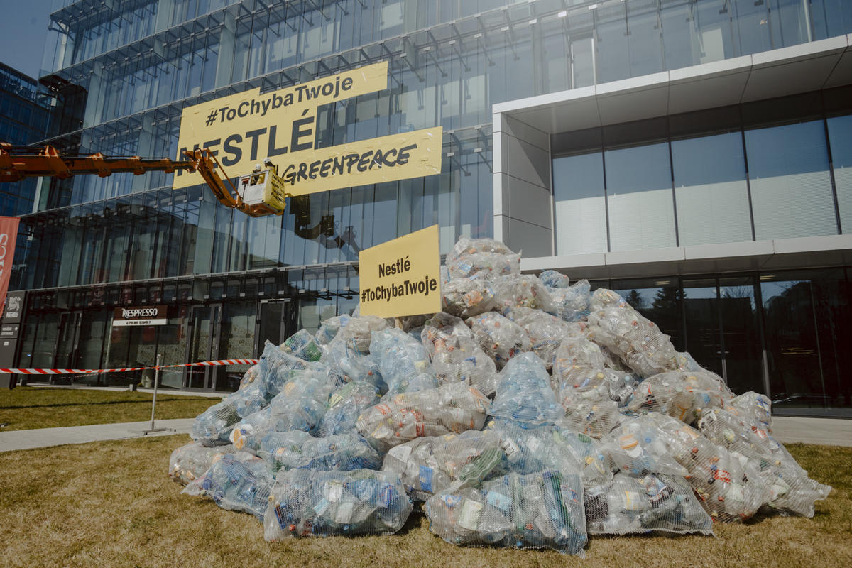 Stop Plastic Action at Nestle HQ in Poland. © Rafal Wojczal / Greenpeace