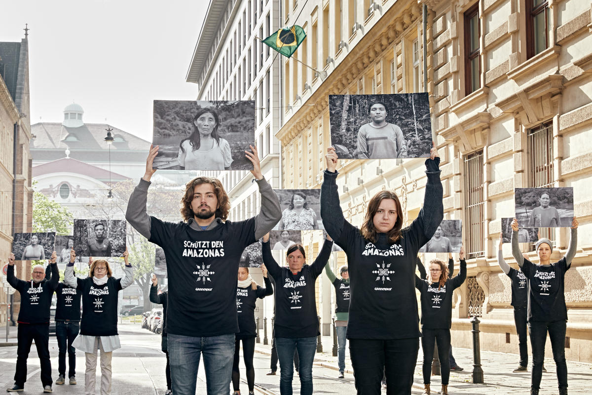 All Eyes on the Amazon - Solidarity Protest in Vienna. © Mitja  Kobal / Greenpeace